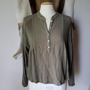 Lucky Brand olive green long sleeve henley top